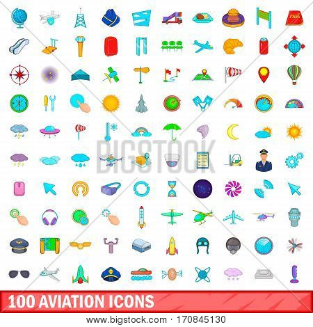 100 aviation icons set in cartoon style for any design vector illustration