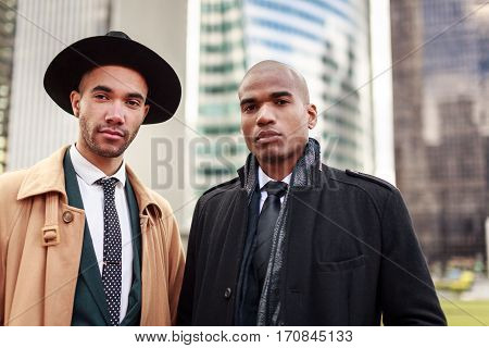 Black businessmen in La Defense finance district, Paris