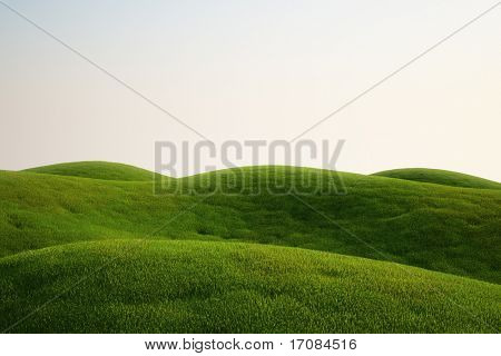 3d rendering of a green field