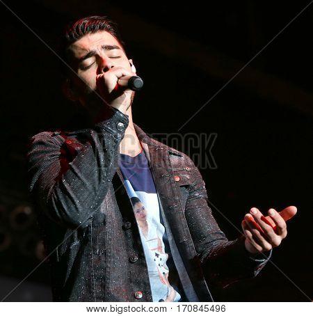 HUNTINGTON, NY-FEB 8: Joe Jonas of DNCE performs onstage at the Paramount on February 8, 2017 in Huntington, New York.