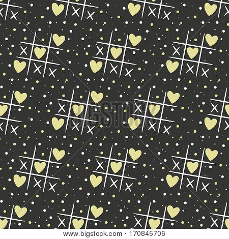 Seamless pattern with tic tak toe and hearts on the black background for your design. Vector illustration.
