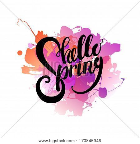 Hello spring lettering design greeting card template. Lettering design for posters, t-shirts, cards, invitations, stickers, banners, advertisement, social media content. Hello spring vector.