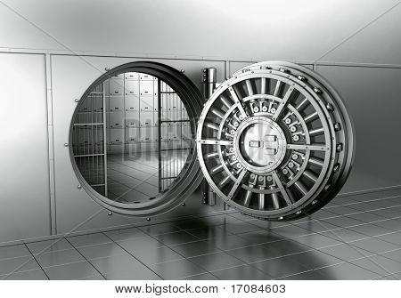 3d rendering of an open bank vault
