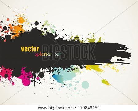 Paint splatter design. Hand drawn brush stroke. Vector illustration