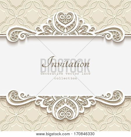 Vintage frame with lace border pattern, cutout paper vignette, flourish decoration for greeting card or wedding invitation