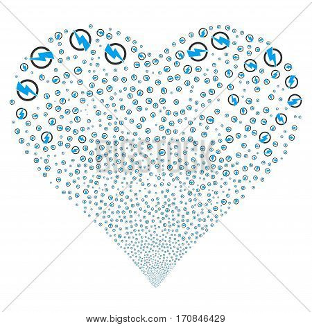 Electricity fireworks with heart shape. Vector illustration style is flat blue and gray iconic symbols on a white background. Object stream constructed from scattered icons.