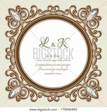 Vintage gold ornamental frame, label, diamond jewelry vignette, elegant wedding invitation or save the date card template