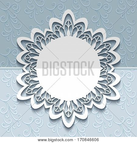 Round frame with cutout border pattern, paper lace doily, elegant save the date card or wedding invitation template with laser cut border pattern