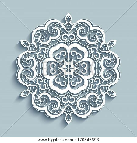 Paper lace doily, decorative cutout snowflake, mandala circle ornament, laser cut round pattern