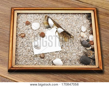 Shells, Starfish ,blank Paper Sheet ,sunglasses And Frame