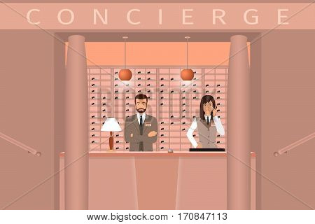 Hotel concierge service. Front view of concierge counter with two hotel employee. Flat style vector illustration.