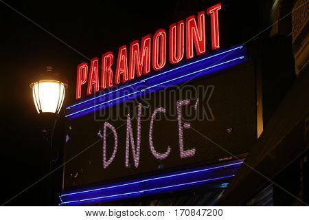 HUNTINGTON, NY-FEB 8: Outdoor marquee for DNCE appearing in concert at the Paramount on February 8, 2017 in Huntington, New York.