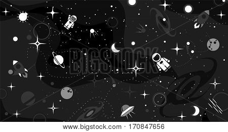 Vector flat cosmos design background. Cute black template with Astronaut Spaceship Rocket Moon Black Hole Stars in Outer space