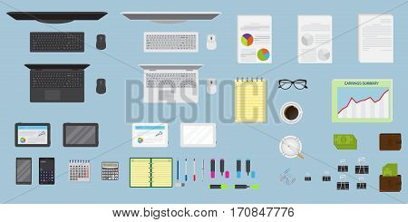 Top view office table workspace organization. Create your own style. EPS10 fully editable. Flat style vector illustration.