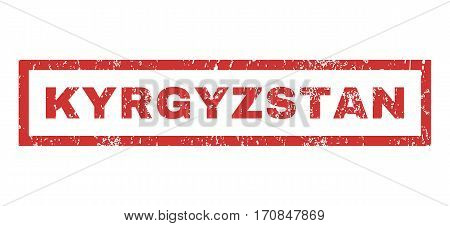 Kyrgyzstan text rubber seal stamp watermark. Caption inside rectangular banner with grunge design and scratched texture. Horizontal vector red ink sticker on a white background.