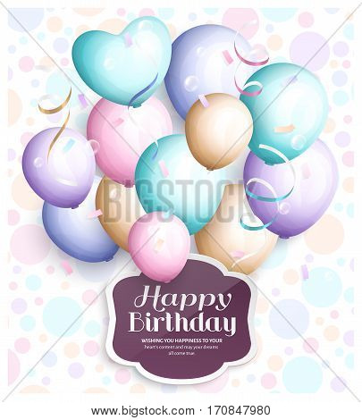 Happy birthday greeting card. Retro vintage pastel party balloons, streamers, paper label with stylish lettering.