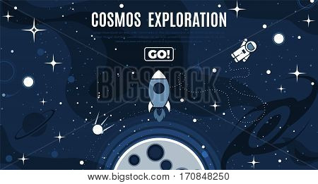 Vector flat cosmos design background with text. Cute template with Astronaut Spaceship Rocket Moon Black Hole Stars in Outer space