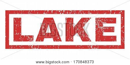 Lake text rubber seal stamp watermark. Caption inside rectangular shape with grunge design and dust texture. Horizontal vector red ink sticker on a white background.