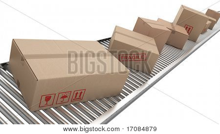 3d rendering of Cardboard boxes on a conveyor belt