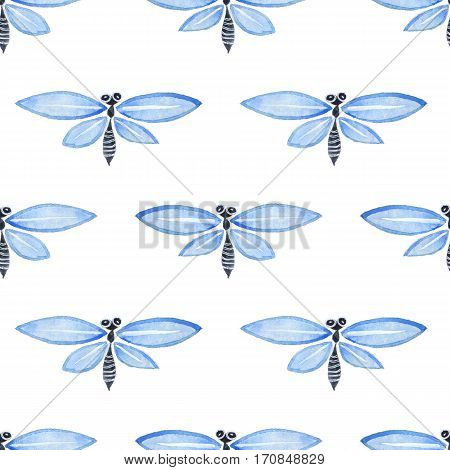 Blue watercolor seamless pattern with dragonflies 1