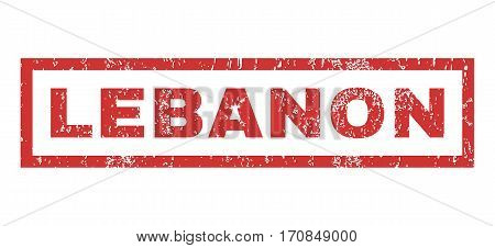 Lebanon text rubber seal stamp watermark. Tag inside rectangular banner with grunge design and scratched texture. Horizontal vector red ink sticker on a white background.