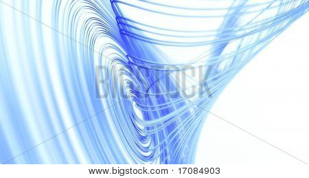 3d rendering of a Lorenz Attractor fractal in blue with white background