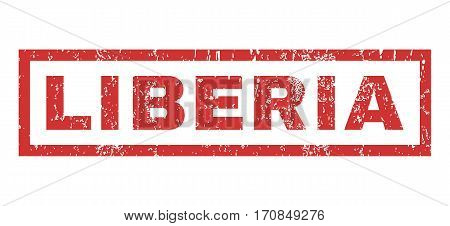 Liberia text rubber seal stamp watermark. Tag inside rectangular banner with grunge design and dirty texture. Horizontal vector red ink emblem on a white background.