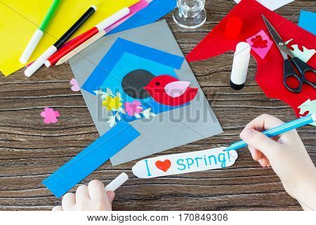 The Child Makes An Inscription That I Love Spring In The Spring Children's Greeting Card Paper Bird