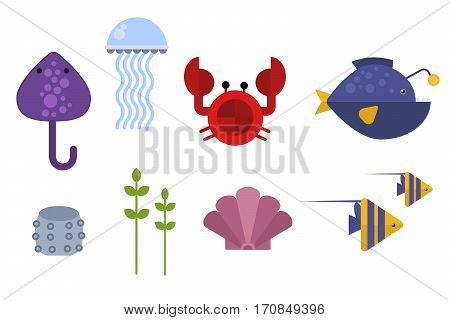 Vector set of cute sea creatures characters. Cartoon ocean underwater animals. Aquarium life water collection isolated graphic aquatic tropical fish.