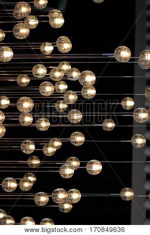 Lighting Balls On The Chandelier In The Lamplight,  Light Bulbs Hanging From The Ceiling, Lamps On T