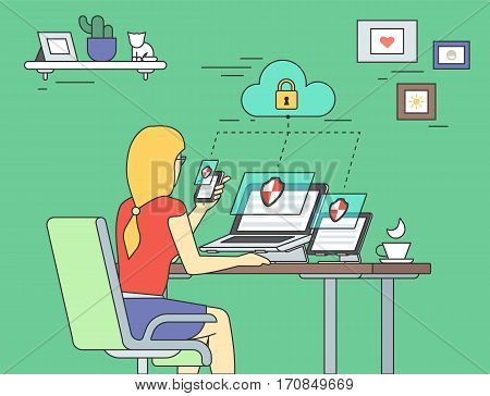 Security for laptop, tablet and smartphone flat contour concept illustration of young woman holds smartphone and working with laptop and tablet pc. Desktop security and multiscreen data protection