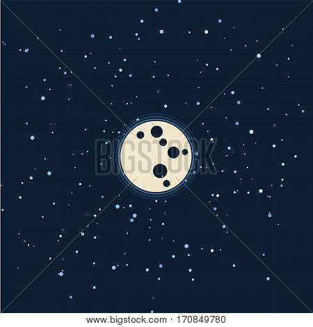 Vector flat space seamless pattern background. Cute template with Moon and Stars in Outer space