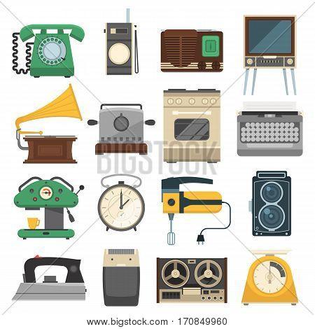 Retro vintage household appliances vector symbols. Kitchenware antique technology utensil symbols. Housework electric equipment domestic set.
