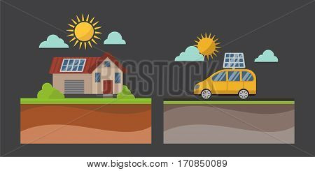 House with solar panels. Sun energy building technology roof vector illustration. Modern electrical generation ecology environment photovoltaic cell generator.