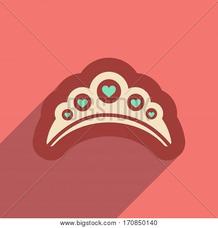 Flat web icon with long shadow diadem