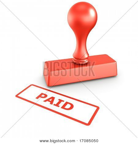 3d rendering of a rubber stamp with PAID in red ink