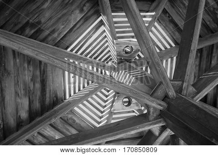 Through Wooden Sunshade See The Sky Black And White Close-up Of