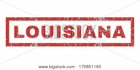 Louisiana text rubber seal stamp watermark. Tag inside rectangular shape with grunge design and scratched texture. Horizontal vector red ink sticker on a white background.