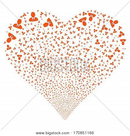 Manager fireworks with heart shape. Vector illustration style is flat intensive red and orange iconic symbols on a white background. Object love heart made from scattered symbols.