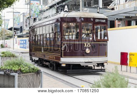 Christchurch, New Zealand - February 14, 2016: Vintage Style Tram On The Christchurch Tramway Offers