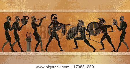 Ancient Greece scene. Black figure pottery. Ancient Greek mythology. Ancient warriors Sparta people gods. Classical style