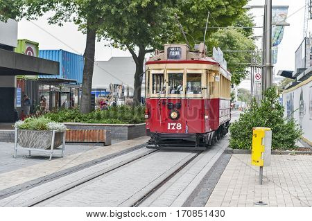 Christchurch, New Zealand - February 14, 2016: Vintage Style Tram On The Christchurch Tramway At The