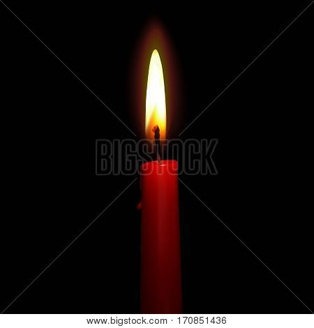 Candle realistic with transparent fire 3d isolated on black background vector illustration. Birthday, holyday concept for your design and business.