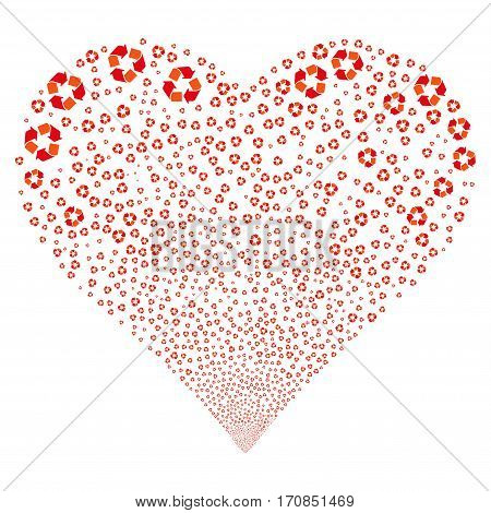 Recycle Arrows fireworks with heart shape. Vector illustration style is flat intensive red and orange iconic symbols on a white background. Object stream constructed from scattered icons.