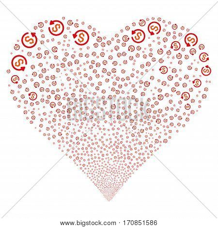 Refund fireworks with heart shape. Vector illustration style is flat intensive red and orange iconic symbols on a white background. Object heart combined from scattered design elements.