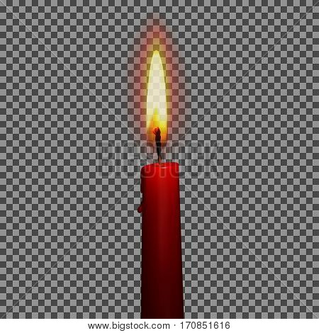 Candle realistic with fire 3d isolated on transparent background vector illustration. Birthday, holyday concept for your design and business.