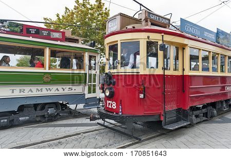 Christchurch, New Zealand - February 14, 2016: Vintage Style Trams On The Christchurch Tramway Offer