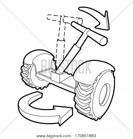 Inclined segway icon. Outline illustration of inclined segway vector icon for web