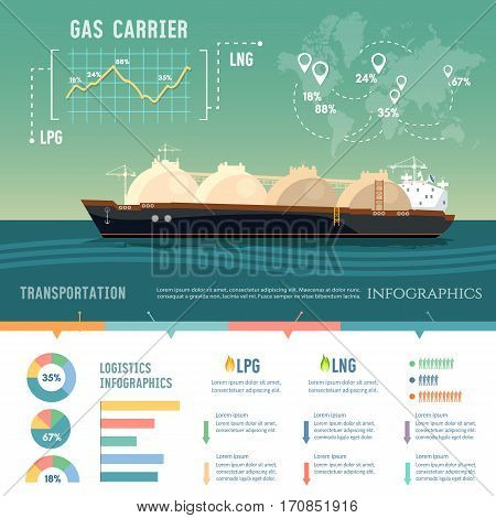 LNG tanker natural gas. Carrier ship LNG transportation by sea. Oil and gas industry infographics