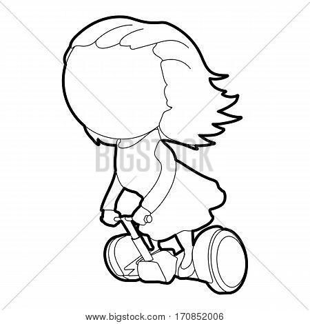 Girl on segway icon. Outline illustration of girl on segway vector icon for web